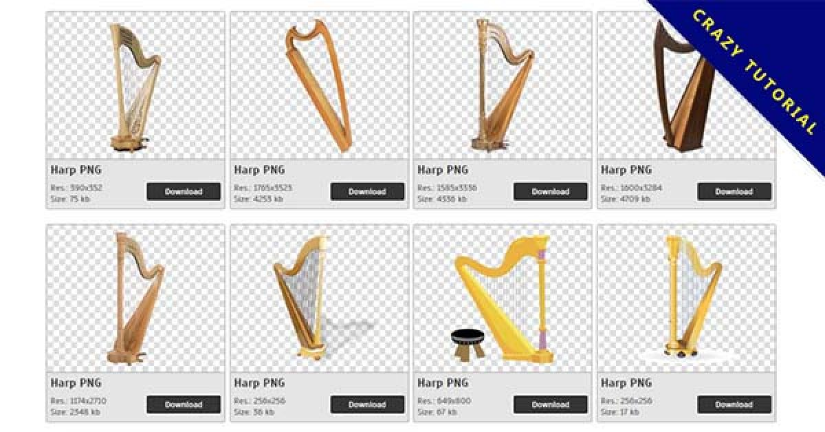34 Harp PNG image collection free download