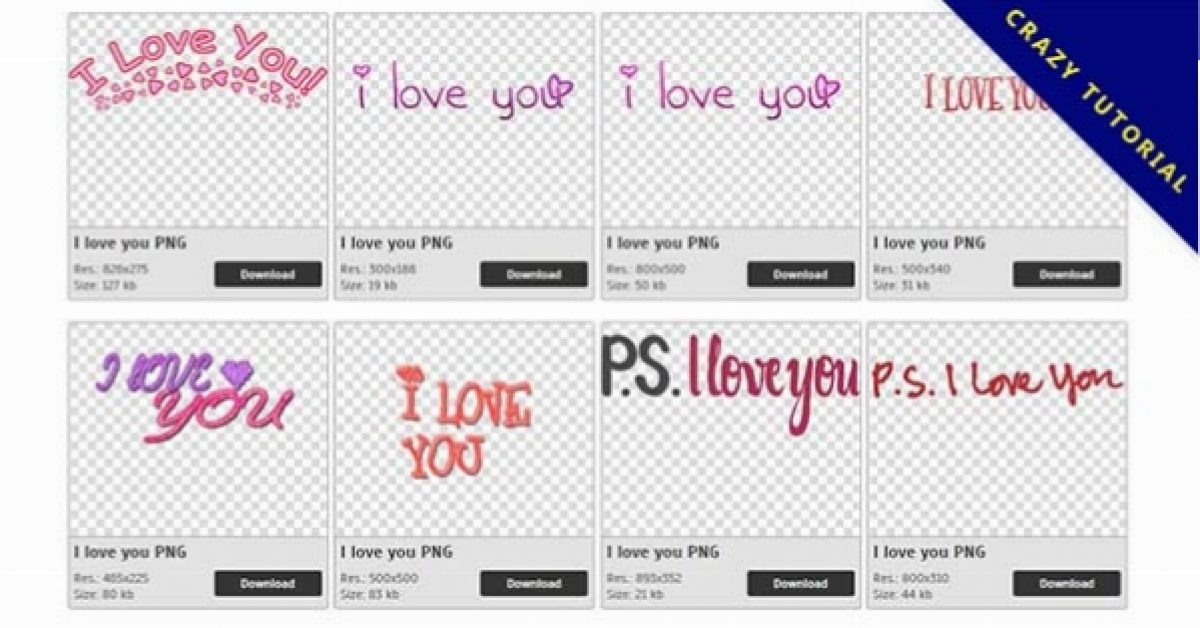 57 I love you PNG images for free download