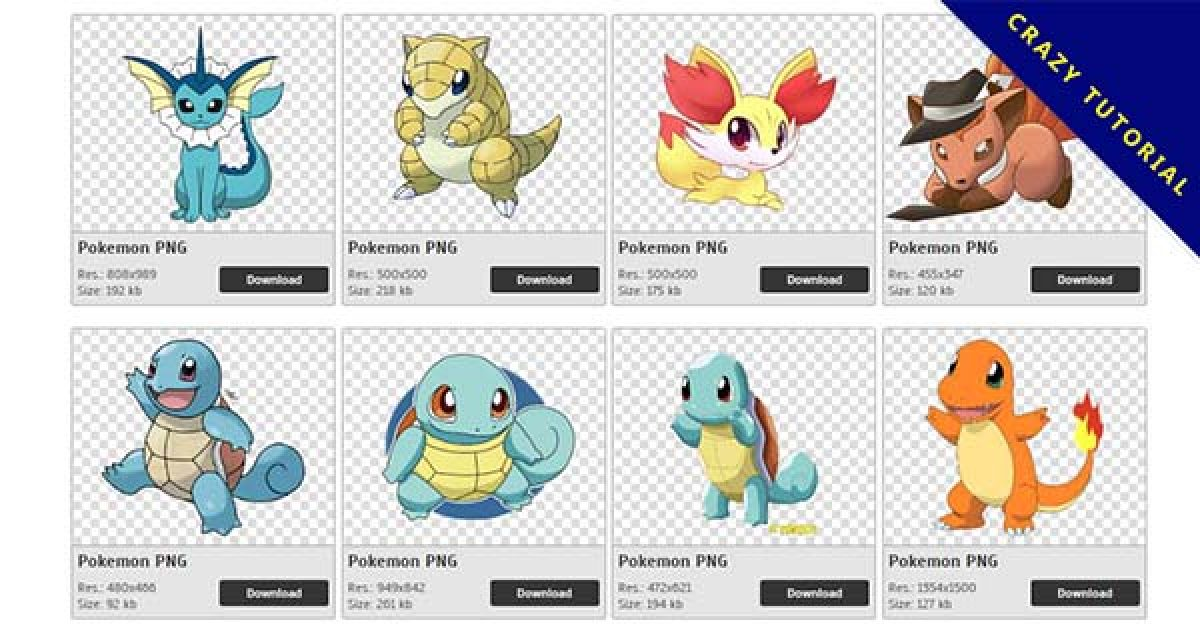 161 Pokemon PNG images available for free download