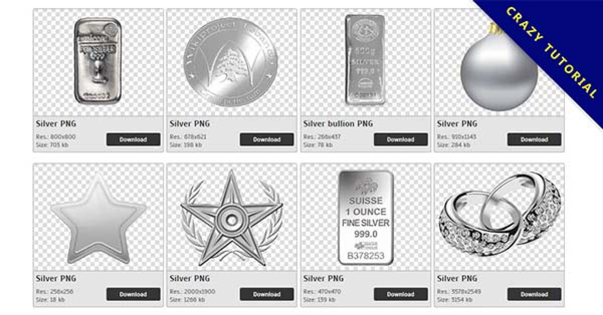 88 Silvers PNG image collections for free download