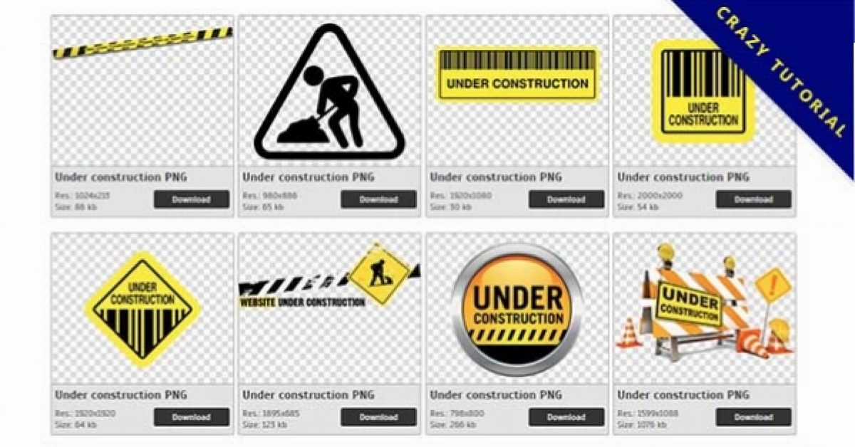 75 Under construction PNG image collections are free to download